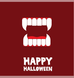 happy halloween vampire teeth card vector image