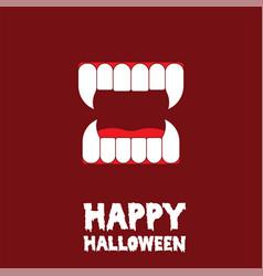 Happy halloween vampire teeth card vector