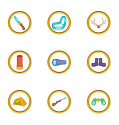 Hunter tools icons set cartoon style vector