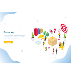 Isometric people donation concept for website vector