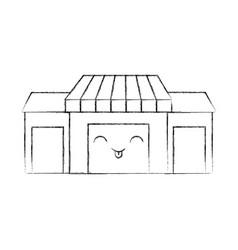 Kawaii store grocery shop building exterior vector