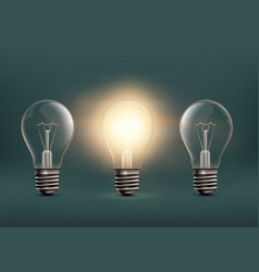 light bulbs isolated on dark background vector image