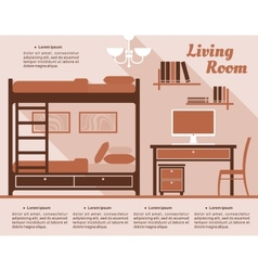 Living room interior decor infographic vector image