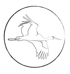 logotype of a stork black outline on a white vector image