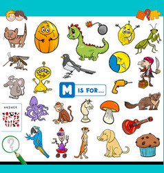 M is for educational game for children vector