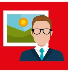 man and picture isolated icon design vector image