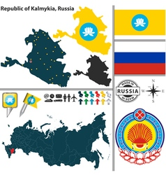 Map republic kalmykia vector