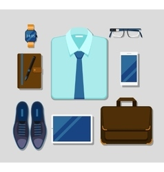 Modern businessman gadgets and accessories outfit vector image