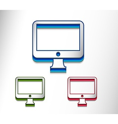 monitor icon set vector image