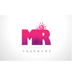 Mr m r letter logo with pink purple color and vector
