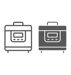 Multicooker line and glyph icon kitchen vector