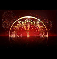 new year background with clock face and fireworks vector image