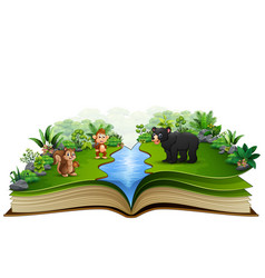 open book with the animal cartoon playing in the r vector image