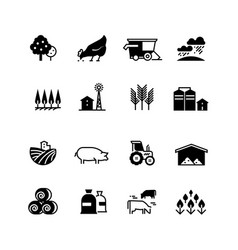 organic farm and agriculture silhouette vector image