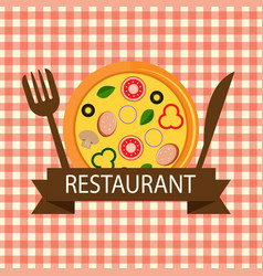 Pizza restaurant logo brown ribbon vector