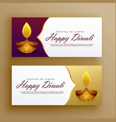 Premium luxury happy diwali banners card design vector