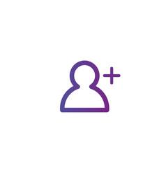 Purple linear outline add person icon add user vector