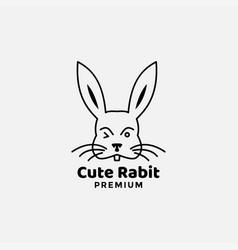 Rabbit line cute head face minimalist style vector