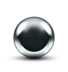 Realistic 3d chrome ball isolated on white vector