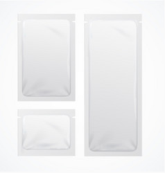 realistic detailed 3d white blank sachets template vector image
