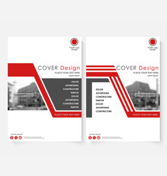 Red cover design template for annual report vector