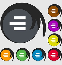 Right-aligned icon sign Symbols on eight colored vector