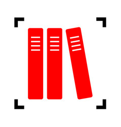 row of binders office folders icon red vector image