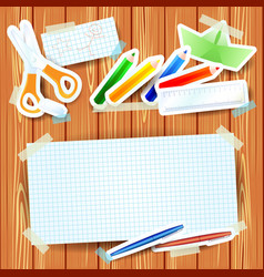 School background with paper elements and blank vector