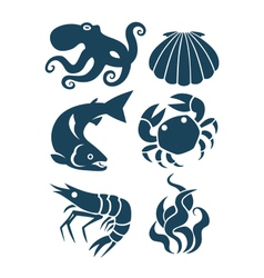 Sea life and food icons vector