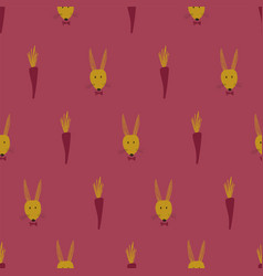seamless pattern with bunny faces and carrots vector image