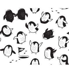 seamless pattern with funny hand drawn penguins vector image