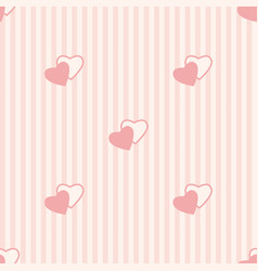 seamless vertical stripe pattern with pink hearts vector image