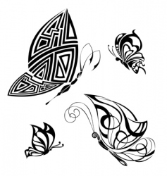 set of tattoo butterflies vector image