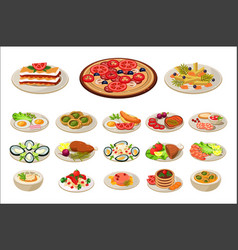 set of various dishes on plates tasty food vector image