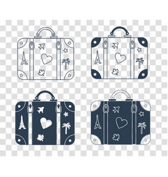 silhouette icon suitcase for travel vector image
