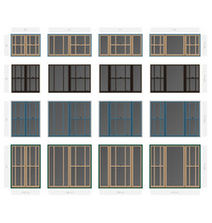 Single hung offset style composite window set in vector