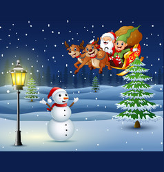 snowman in the snowing hill with santa flying over vector image