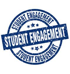 student engagement blue round grunge stamp vector image