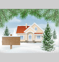 Suburban house in snow and sign for sale vector