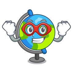 Super hero globe character cartoon style vector