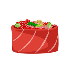 sushi with salmon fish topped with red caviar vector image