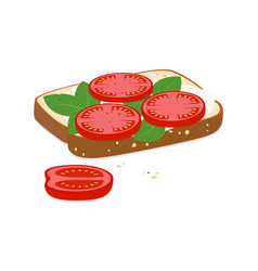 Toast with mozzarella and tomatoes vector