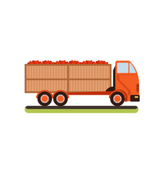 Truck with red apples on a vector