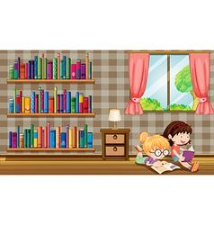 Two girls reading books beside the bookshelves vector