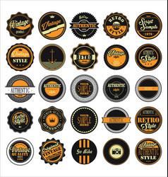 vintage labels black and yellow set vector image