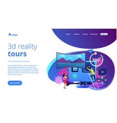 Virtual tour concept landing page vector