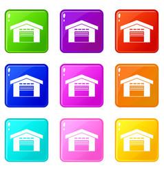 warehouse icons 9 set vector image