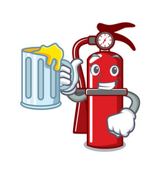 With juice fire extinguisher mascot cartoon vector