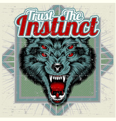 wolf and letter trust instinct hand vector image