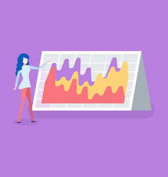 woman and business graphic statistics or analysis vector image